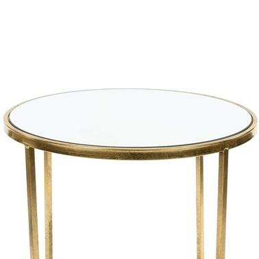 Vitale Pera Aynalı Gold Sehpa Renkli
